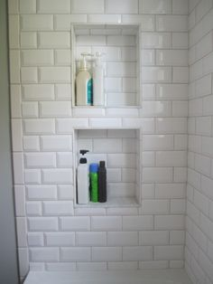 shower niche beveled subway tile (would put basketweave from the floor in the inset)