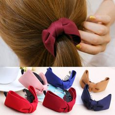 2017 Korean Hair Claw Solid Big Bows Banana Hairpins Ties Ponytail Headband Hair Clips Hair Accessories For Women Girls Jewelry