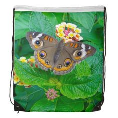 Butterfly Photo Drawstring Backpack--#butterflies #lantana #flowers #spring #backpacks #school #bags #nature #Zazzle