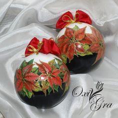 #oxigra #decoupage #bombki #gwiazda #betlejemska Christmas Decoupage, Christmas Tree Painting, Painted Christmas Ornaments, Christmas Baubles, Holiday Ornaments, Christmas Decorations, Christmas Projects, Holiday Crafts, Xmax