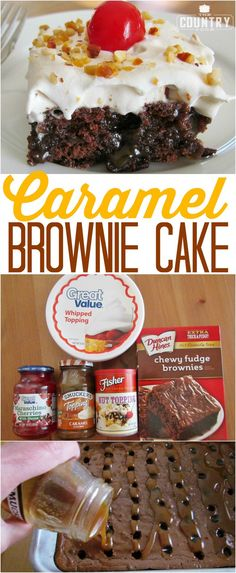 Caramel Brownie Cake recipe from The Country Cook (Chocolate Brownies With Nuts) Poke Cakes, Poke Cake Recipes, Brownie Recipes, Cupcake Cakes, Cupcakes, Pudding Recipes, Cake Cookies, Köstliche Desserts, Chocolate Desserts