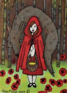 ACEO TW FEB Original Pen ProMarker Fairy Tale Little RED Riding Hood Sue Flask #Miniature
