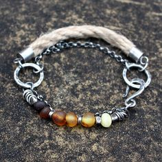 Raw amber natural linen sterling silver bracelet by 626elements