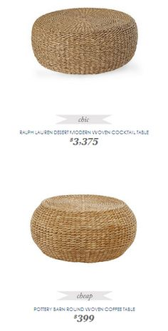 Copy Cat Chic Find | RALPH LAUREN DESERT MODERN WOVEN COCKTAIL TABLE vs POTTERY BARN ROUND WOVEN COFFEE TABLE