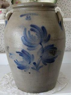 ANTIQUE Stoneware Crock JW COWDEN Harrisburg Pa COBALT BLUE Dec PRIMITIVE