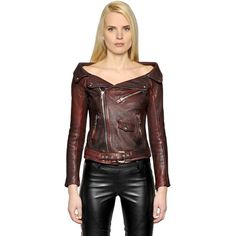 2b7dd66086d Faith Connexion Women Off The Shoulder Leather Sailor Jacket ( 1