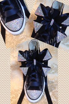 83e47a671dc1 Beautiful customised converse with crystal toes and crystal bows xxx
