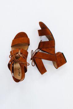 Nora chestnut tie heels// shopaof.com