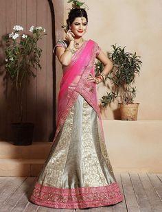 Get a sophisticated urbane look wearing this English grey lehenga choli. Buy Lehenga online - http://www.aishwaryadesignstudio.com/contemporary-grey-lehenga-with-zari