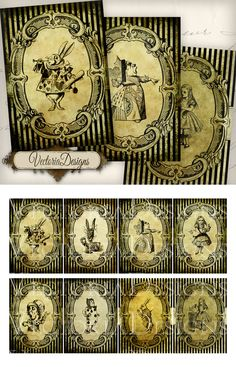 Printable Grunge Alice in Wonderland ATC images by VectoriaDesigns