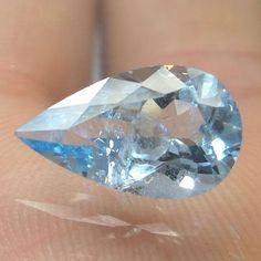 2.6 CTS NATURAL LUSTROUS MEDIUM BLUE COLOR 13X7.8 MM PEAR CUT AQUAMARINE AQU3  #UnitedGemstones