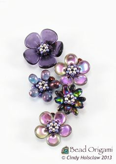 Bead Origami: Purple Sakura Charms and Possible Arrangements
