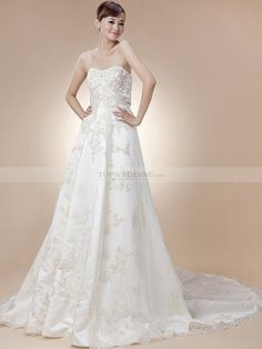 Strapless Sweetheart Bridal Gown Featured Metallic Embroidery 1108036