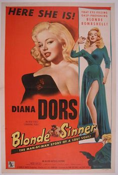 Diana Dors in 'Blonde Sinner', 1956 - film poster. Old Movie Posters, Classic Movie Posters, Cinema Posters, Movie Poster Art, Classic Films, Vintage Posters, Art Posters, Diana Dors, Good Girl