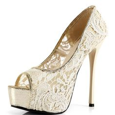 Elegant Lace Design Peep Toe Apricot Colored High Heels