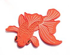 Japanese Koi / Fish Tattoo / Iron-on Patches / Orange Koi Fish / Tattoo Appliqué / Embroidery