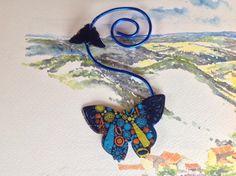 Marque page fil d'aluminium leu et papillons : Marque-pages par mariecrea