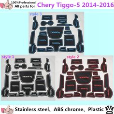 [Visit to Buy] car plastic Groove Gate Slot Armrest Storage Rubber non-slip mats inner door pad/cup 21pcs For Chery Tiggo 5 2014 2015 2016 #Advertisement