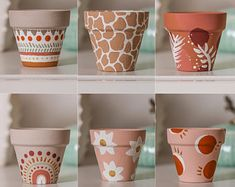 Painted Plant Pots, Painted Flower Pots, Decorated Flower Pots, Pottery Painting Designs, Pottery Painting Ideas Easy, Terracotta Pots, Terracotta Paint, Diy Planters, Fall Planters