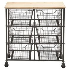 Perfect for organizing your craft room or home office, this essential utility cart features a castered design and 6 metal baskets.