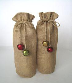 dbece82a5a5e Christmas Wine Bags - Burlap Wine Bottle Bag, Holiday Wine Gift Bag,  Drawsting Burlap Bag, Jute Wine Sack, Christmas Holiday Decor - 1 Bag