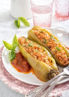 Cubanelle Peppers Stuffed with Chicken and Brown Rice Recipe