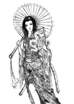 Geisha by Semrosto on deviantART Japanese Geisha Tattoo, Japanese Drawings, Ems Tattoos, Back Tattoos, Tatoos, Samourai Tattoo, Asian Artwork, Geisha Art, Yakuza Tattoo