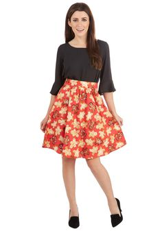 Gingerbread Gentlewoman Skirt. Get into a festive mood by donning this red gingerbread skirt. #red #modcloth