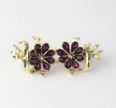 Vintage Coro des. pat. pending Amethst Rhinesone Flower Bouquet Earrings #Coro