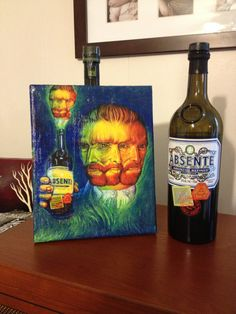 Absinthe Van Gogh Mixed Decoupage Art Painting on by AnalogArtwork