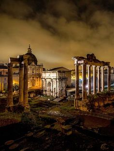 Ruins of The Forum at Night, Rome Italy Lazio by lenora | via: polopixel.com