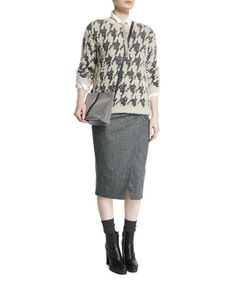 -6N9S Brunello Cucinelli  Teddy 3/4-Sleeve Houndstooth Pullover, Desert High-Waist Belted Pencil Skirt, Onyx
