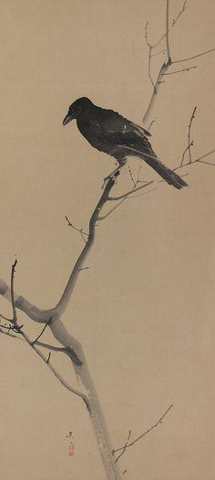 Antique Japanese Kakejiku, Black Bird perched on a Tree, Matsumura Keibun 1779-1843