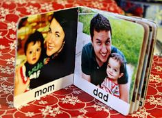 re-use old board books by adding gluing new photos/words onto the pages - genius!