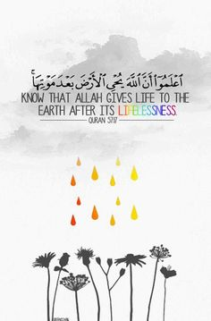 """""""Know that Allah gives life to the earth after its lifelessness. We have made clear to you the signs;"""" -- Surah Al-Hadid Quran Verses, Quran Quotes, Qoutes, Hindi Quotes, Muslim Quotes, Religious Quotes, Hadith, Alhamdulillah, Saint Coran"""