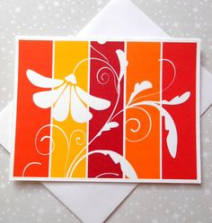 Sunny Blossoms Color Block Blank Cards 8ct - pinned by pin4etsy.com