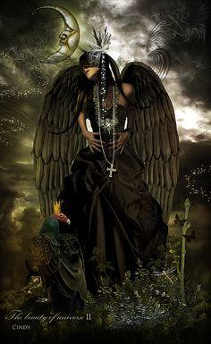 Angel of death. Gothic Angel, Gothic Fairy, Dark Fantasy Art, Fantasy World, Angel Warrior, Ange Demon, Angels And Demons, Dark Angels, Fallen Angels
