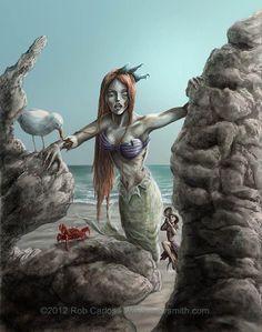 Zombie Princess Ariel - by Rob Carlos