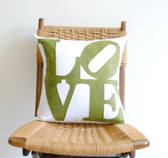 16 White Linen and Green Felt Pillow Cover  LOVE by PillowFactory, $52.00