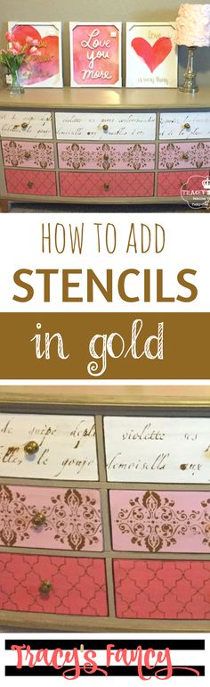 Mix Patterns on a Stenciled Dresser & How to Add Stencils in Gold to Furnityue | DIY Furniture and Furniture Painting Tips by Tracey's Fancy
