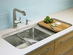#cocinas fregadero de acero inoxidable con cesta para lavar alimentos