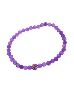Lord & Taylor Purple Bead and Amethyst Stone Stretch Bracelet Women's