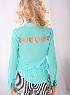 Mint Sheer Button Down Top with Heart Cut Out Back,  Top, cut out top  button up, Casual