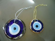 TURKISH EVIL EYE GLASS LUCKY HANGINGS, NAZAR, METALLIC GOLD SILVER COLOR AROUND