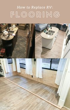 How to replace RV flooring // Replacing that old fifthwheel carpet with fantastic faux hardwood! Camper Flooring, Wood Flooring, Floors, Bungalow, Travel Trailer Remodel, Travel Trailers, Airstream Interior, Camper Renovation, Camper Remodeling