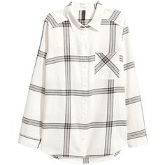 Flannel Shirt $17.99 (£14) ❤ liked on Polyvore featuring tops, white flannel shirt, button collar shirt, long sleeve shirts, long-sleeve shirt and long sleeve flannel shirts