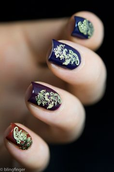 Filigree Nail Decoration gold charm over an ombre manicure