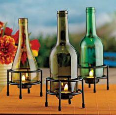 Recycled wine bottle tea light holder