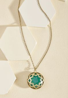 It Was an Honest Mystique Necklace in Ocean. Jazzing up your ensemble with this golden pendant necklace will garner the most candid compliments! #blue #modcloth
