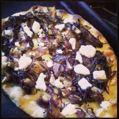 Rustic Herb Fig and Goat Cheese Pizza- 1 Naan flatbread, 1 oz goat ...